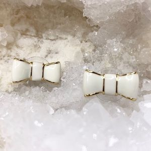 Kate Spade Enamel Gold Tone Bow Earrings